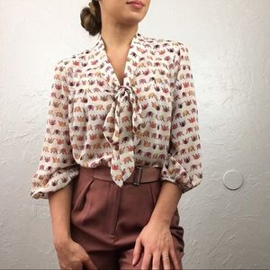 Under Skies: Elephant print Bow Button Down Blouse